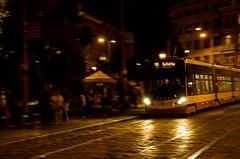 Photo (BadSoull) Tags: photo europe nikon trip streetphoto night evening street tram transportation travel