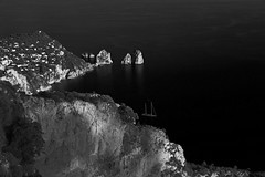 Sailboat in Space 2 (mitchriley) Tags: bw capri italy sailboat blackandwhite contrast landscape