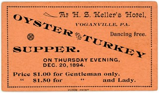 Oyster and Turkey Supper Ticket, Voganville, Pa., December 20, 1894