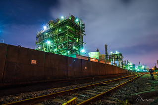 Night Factories by railroad