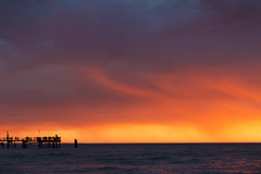 Welcome to the show (alideniese) Tags: 7dwf crazytuesdaytheme summer landscape seascape waterscape ocean jetty pier silhouette coastal water sea alideniese sunset sundown storm evening sky clouds weather colourful dramatic glenelg adelaide southaustralia australia hot heat