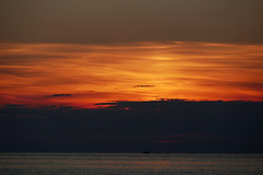 lonely (nelesch14) Tags: summer sunset boat nature ocean water silhouette poreč sky clouds