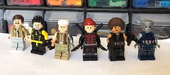 Deadpool 2 Minifigures. (Me and my bro Colby made these.) From Left to Right: Peter, Negasonic Teenage Warhead, Cable, Deadpool (Wade Wilson), Domino, and Colossus.) (Tyler Ostrin) Tags: dp two 2 deadpool2 deadpool colby tyler lego