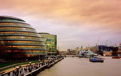 View of the Thames and City Hall. (majka44) Tags: london uk boat people city travel evening sunset architecture river thames england street road light atmosphere
