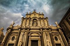 Catania Basilica, Sicily 1 (photoautomotive) Tags: sicily italy catania cathedral saintagatha duomo baroquefacade city romancolumns sky clouds canon 7d building outside outdoor old