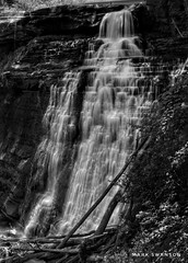Bridal Veil Falls, Cuyahoga Falls National Park (mswan777) Tags: cuyahoga bridalveil ohio monochrome ansel white black vertical stone rock tree falls travel nature outdoor river motion exposure long flow water