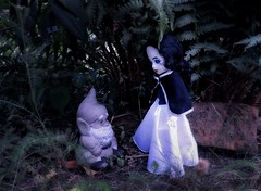 There will come the Day, Snow White will meet our only Dwarf in the Garden (pianocats16) Tags: snow white living dead doll dolls garden dwarf fairy tale