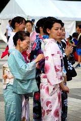 Tying An Obi Belt On A Kimono, Tokyo (El-Branden Brazil) Tags: japan japanese asia kimono ueno tradition culture