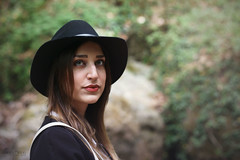 Anastasia (Geo.M) Tags: fashion photography photoshoot canon portrait portraiture pelion volos thessaly greece golden hair young model daylight casual style hat denim waterfall nature rocky landscape mountain forest george miliokas