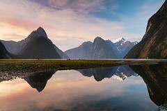 Sound Reflections - Milford Sound, New Zealand (Nomadic Vision Photography) Tags: fjordlandnationalpark fjordlands newzealand travel milfordsound southisland reflection sunset