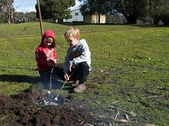 Farm boys (Boobook48) Tags: homerton victoria child fire bonfire marshmallows australia family grandsons