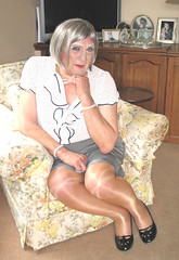 Nancyfrlblo-004 (fionaxxcd) Tags: crossdresser crossdresing m2f mtf ladyboy ladyboi transvestite tranny trannie blackpatentshoes frillyblouse blonde shinytights shinypantyhose whitenails