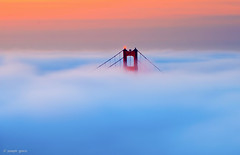 South Tower Fog (Explored) (Joseph Greco) Tags: goldengatebridge california sanfrancisco fog cloud dawn twilight pastel bridge
