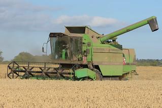 Deutz Fahr M36.10 Combine Harvester cutting Winter Wheat