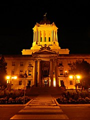 Front photo of the Manitoba Legislature (Pwern2) Tags: sky evening night crosswalk whitestripes streetlamps manitobalegislature legislature trees flowers statue winnipeg peg thepeg manitoba peace tranquility stillness still pause reflection politics change hope urban urbanarchitecture