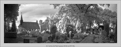 6x17 pinhole with Rollei Superpan 200 film and IR72 filter (Dierk Topp) Tags: 6x17 bw ir ir72 realitysosubtle6×17 rolleisuperpan200 analog architecture graveyard infrared monochrom pano panorama pinhole reinfeld sw trees