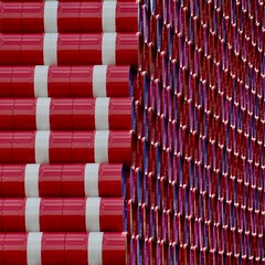 The London Mastaba (1) (No Great Hurry) Tags: cmwdred repetition patterns serpentinegalleries christoandjeanneclaude mastaba londonmastaba sculpture rouge redandwhite urbanabstract sackler 2018 robinmauricebarr nogreathurry abstract diagonal purple red barrels hydepark serpentine lines