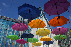 summer of Leipzig (murtica27) Tags: blue sky blau umbrella street strase paulinum leipzig lipsia sachsen saxony summer season scenery stadt city town architecture