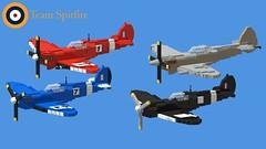Team Spitfire Formation 01 (Lt. SPAZ) Tags: lego supermarine spitfire seafire wwii allies raf mki ix xvii aircraft fighter airplane british