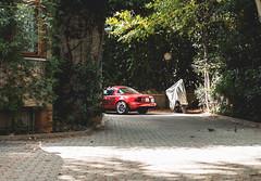 90s (WeekendPlayer) Tags: mazd mx5 miata jdm japan japanese neighbor car vehicle park parked red garden building street city road tree