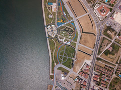 Bird's eye view of a park with playground and sports courts in Fethiye, Turkey