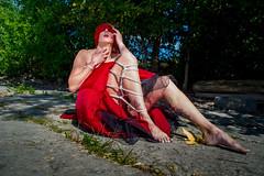 Lady In RED ( Shibari ) (TheGhostVaporVision) Tags: model shibari kinbaku art artist knots tied ropes dragonfly blindfold red dress outdoor nature beauty sexy artistic concept water landscape beautiful mysterious ghostvaporphotography ghostvaporshibarikinbaku