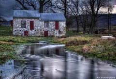 Springhouse and Creek, St. Thomas Pennsylvania (PhotosToArtByMike) Tags: springhouse lightpainting lowlightexposure stthomaspennsylvania farm creek stonespringhouse creekside franklincountypennsylvania stthomas