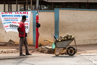 Kumasi afternoon - coconut vendor thinks of his eduction options