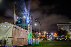 projectionist (pbo31) Tags: sanfrancisco california color night dark black nikon d810 september 2018 summer boury pbo31 civiccenter plaza cityhall green projection film standingmarch globalclimateactionsummit conference art mapping lightcasting dome fog mist