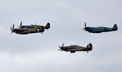 Fighter Formation (Bernie Condon) Tags: goodwood goodwoodrevival vintage preserved british uk greatbritain sussex hawker hurricane warplane fighter raf royalairforce fightercommand ww2 battleofbritian military vickers supermarine spitfire aircraft plane flying aviation