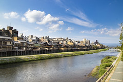 Kamo River (Myself more than Synghan) Tags: kamoriver kamo river kyoto brook kamogawa kamogawariver sky shop shops bank bridge riverbank travel asia japan japanese clouds cloudscape house houses nature restaurant photography horizontal outdoor colourimage fragility freshness nopeople foregroundfocus adjustment interesting awe wonder highangle flowing autumn fall landscape scenic scenery wideangle canon eos80d 80d sigma 1770mm f284 dc macro lens 가모가와 강 교토 일본 풍경
