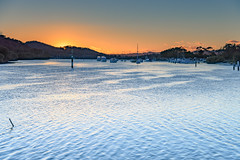 Sunrise and Boats at the Waterfront (Merrillie) Tags: daybreak woywoy landscape nature australia foreshore newsouthwales earlymorning nsw brisbanewater morning dawn coastal water sky waterscape sunrise centralcoast bay outdoors