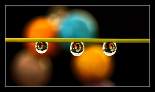 Multicolor beads in the water drops.