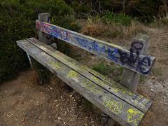 Bench (Durley Beachbum) Tags: 2018weeklyalphabetchallenge33 graffiti talbotheath bournemouth august bench seat