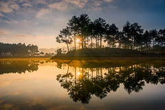 Moc Chau in early morning (:: Focus Studio ::) Tags: forest view ray sunstar landscape banang park reflection sky background beautiful misty tree mocchau season water sunrise color scene sunny blue nature outdoor vietnam lake fog rural beauty scenery