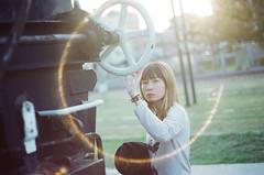 映像化 (Mr.Sai) Tags: chinoncm3 mamiyasekorauto55mmf18 fuji250d8563cinefilm ecn2 process 高雄自由沖掃 taiwan 高雄 girl portrait rena movie train 駁二特區 sunset