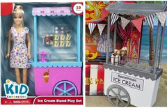 Ice cream stand makeover (Foxy Belle) Tags: plastic furniture repaint makeover before after ice cream stand cart walmart kid connections barbie playscale doll 16