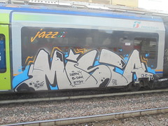 happy b. day etik (en-ri) Tags: mista ohc crew 2018 train torino graffiti writing grigio azzurro nero