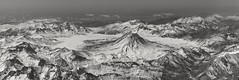 Flying over the Andes (reinaroundtheglobe) Tags: landscape aerialview highangleview andes mountains volcano blackandwhite bnw chili snow ice cold mountainrange