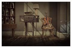 Delilah (Loegan Magic) Tags: secondlife cat chair violin furniture vintage cabinet house shadows sunlight delilah queen lyrics