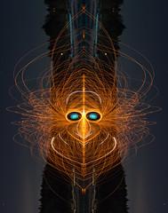 Firy McFireFace (vanessa_macdonald) Tags: steelwool firespinning fire sparks spinning creature nightphotography lightpainting light lights steelwoolspinning burning burn mirror face canon creative funny humour mirrored