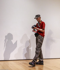 Checking Among Shadows (allentimothy1947) Tags: boston ma mfa art hdr museum people steps 3724 luminar2018 eunice julian cohen galleria camera checking gallery guide hat japanese light nikon pants person photographer red shadows shirt shoes vegatables