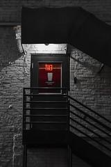 TIXƎ (EXIT) (tim.perdue) Tags: arena district downtown urban city columbus ohio ua creative photowalk nikon d5500 nikkor 18140mm street night dark exit sign red light awning door stairway brick wall explore interesting popular explored interestingness