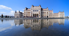 Hungarian Parliament Building (Kurayba) Tags: budapest hungary hungarian parliament building water reflected reflecting people soldier standing sky blue magyar flags pentax k1 sigma 1224 f4556 architecture sigma1224mmf4556