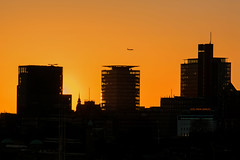 The only Kind of Sunsets I don't like... (marionrosengarten) Tags: hamburg sunset sonnenuntergang silhouettes skyline skyscrapers plane airplane flugzeug sonne licht light sundown sun orange sky bigcity church umrisse elphi elphilharmonie standort plaza plattform flickrmeeting