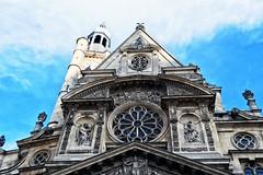 Église Saint-Étienne-du-Mont (roberke) Tags: church kerk eglise architecture architectuur beelden statue windows toren tower sky lucht clouds wolken parijs paris
