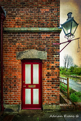Vintage Station Entrance (Adrian Evans Photography) Tags: lamp building decay worn old textured fence reddoor outdoor vintage uk entrance door railwaystation tree red abandoned victorian memorabilia railwaylamp adrianevans british dilapidated architecture disused letterbox vintagelamp bricks impressionism hadlowroadrailwaystation hadlowroad