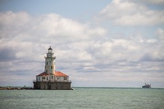 Chicago Harbour Lighthouse (Karen_Chappell) Tags: chicago travel lighthouse lakemichigan usa illinois landscape lake blue green clouds sky scenery scenic architecture building