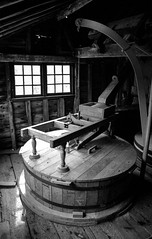 Houghton Mill: Interior 3 (Benedict Todd) Tags: mill olympus watermill epson tmax400 homedeveloped film id11 om2n 4490 analogue river zuiko cambridgeshire nationaltrust industrial tmy2 bw ilford houghtonmill kodak