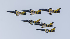 Baltic Bees Jet Team (Karpik :)) Tags: nikon d7100 aviation aircraft airplane jet flying flyingformation aerobaticteam balticbees albatros l39c l39calbatros specialpainting